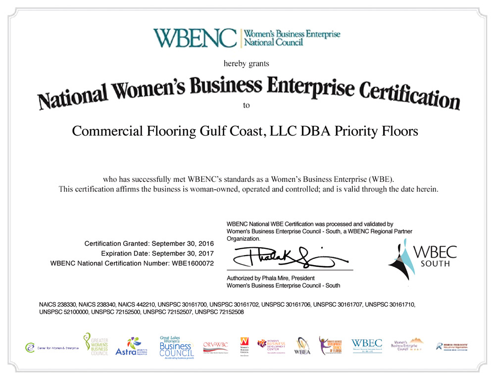 Priority Floors Certified By The Womens Business Enterprise